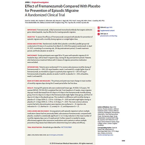Effect of Fremanezumab Compared With Placebo